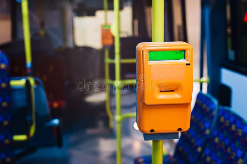 Nowożytny bileta validator w miasto autobusie zdjęcia royalty free