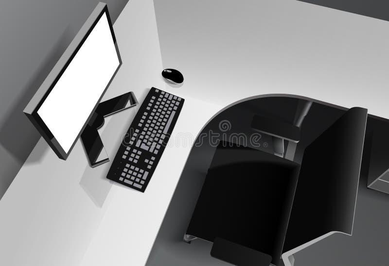 Nowożytny biuro z komputerem na biurku i czarnym krześle ilustracja wektor