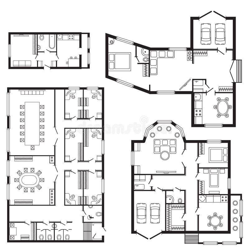 Nowożytny biurowy architektonicznego planu budowy i meble projekta rysunku wewnętrzny projekt royalty ilustracja