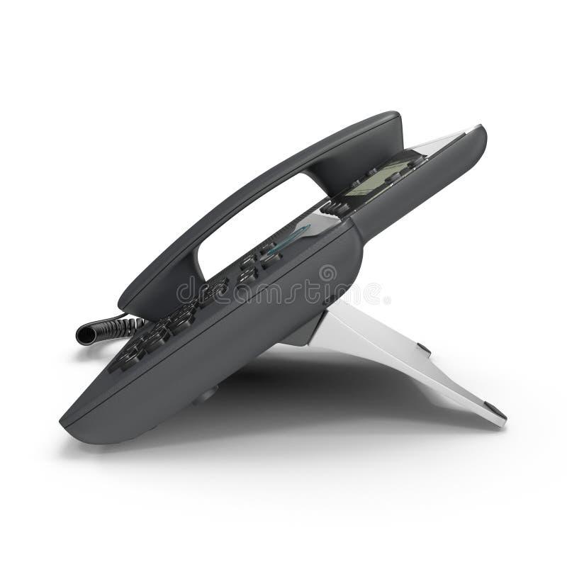 Nowożytny biurowy telefon używać VoIP technologię na bielu 3D ilustracja, ścinek ścieżka royalty ilustracja