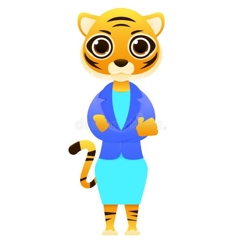 Nowożytny biznesowej kobiety tygrys royalty ilustracja