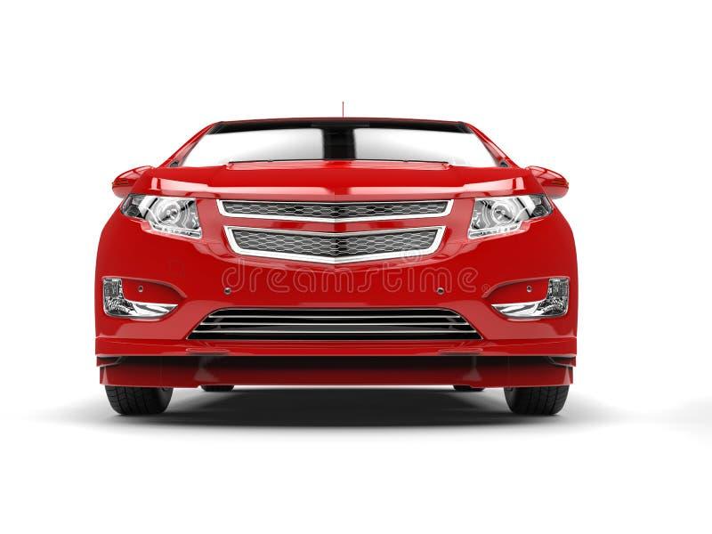 Nowożytny biznesowy czerwony elektryczny samochód - frontowy zbliżenie ilustracja wektor