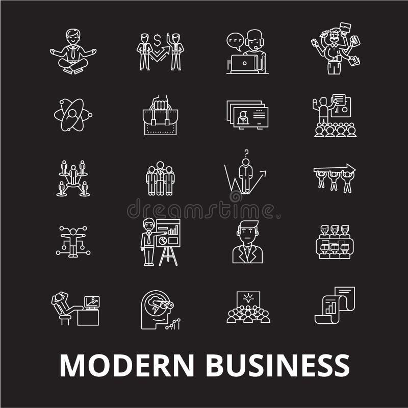 Nowożytny biznesowy editable kreskowy ikony wektorowy ustawiający na czarnym tle Nowożytne biznesowe białe kontur ilustracje, zna ilustracja wektor