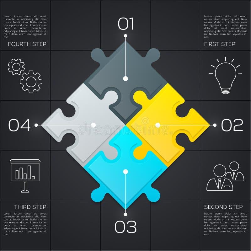 Nowożytny biznesowy infographic dla twój prezentaci Cztery kroka sukces zmiany kolorów łatwa eps8 kawałków łamigłówka wektor wekt ilustracja wektor