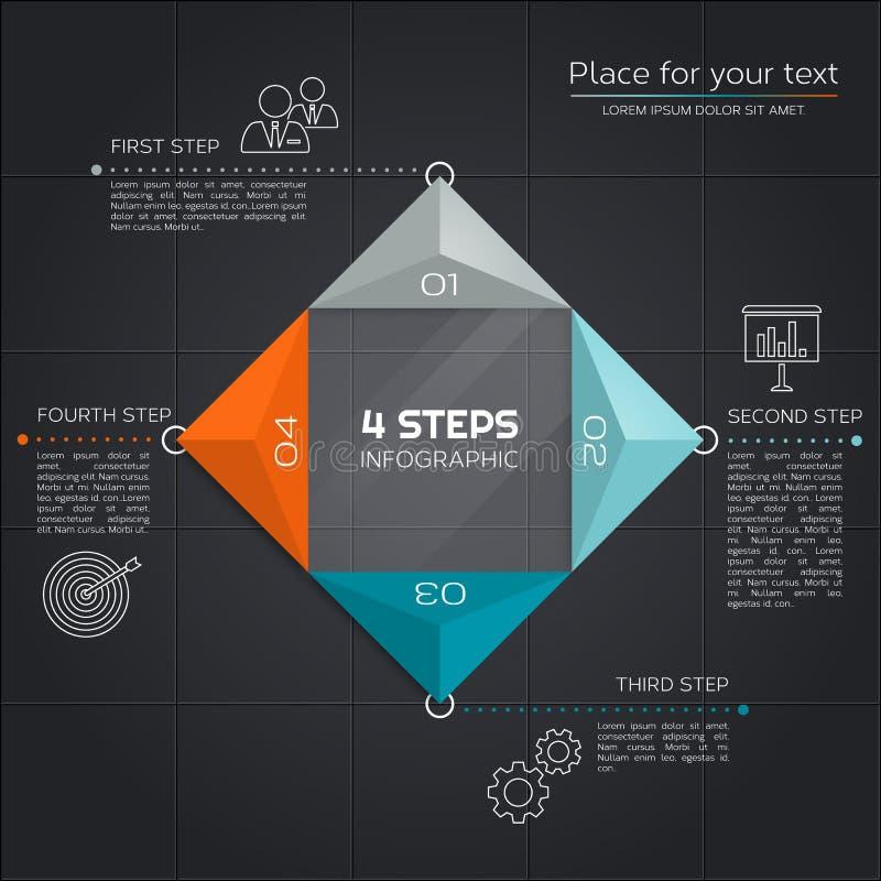Nowożytny biznesowy infographic Projekt z trójbokami i cztery segmentami dla twój prezentaci wektor ilustracji