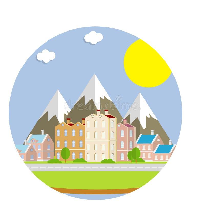 Nowożytny blok mieszkalny Grupa domy na tle góry ilustracji