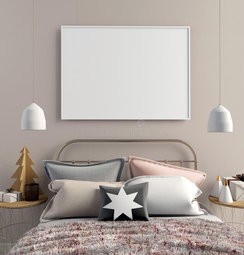 Nowożytny Bożenarodzeniowy wnętrze sypialnia, skandynawa styl 3d bolączka ilustracji