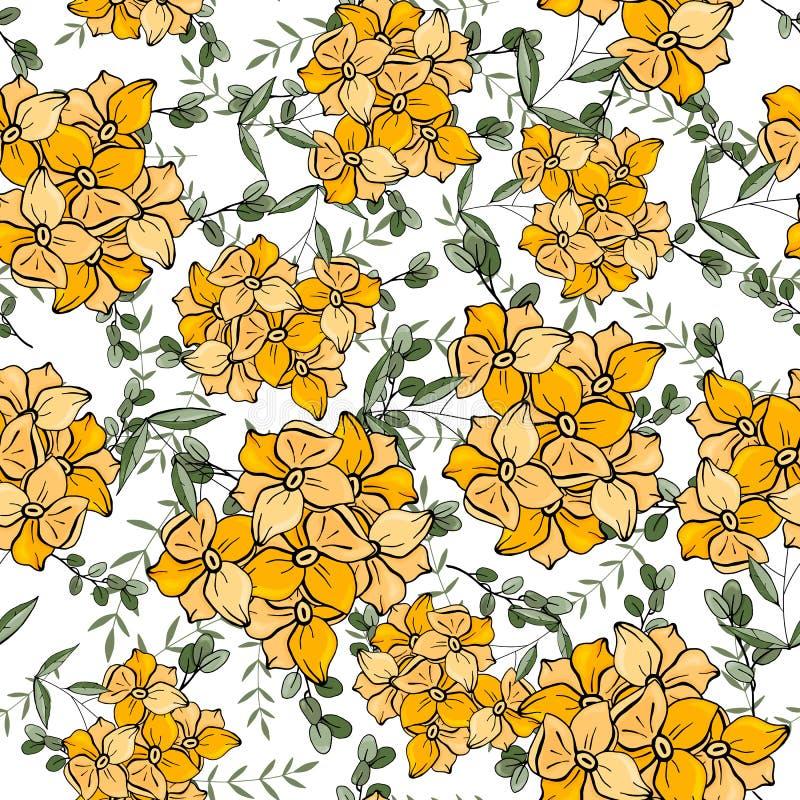 Nowożytny botaniczny tło Ręka rysująca wektorowa ilustracja Lud kwitnie chamomile, stokrotka bezszwowy kwiecisty wzoru ilustracja wektor