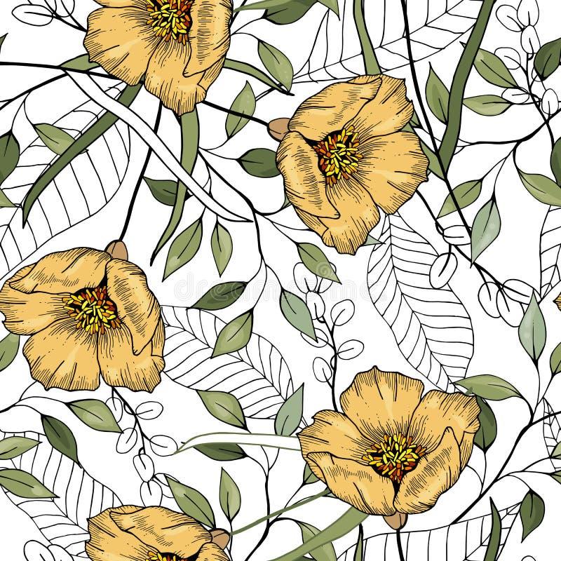 Nowożytny botaniczny tło Ręka rysująca wektorowa ilustracja Ludowi kwiaty bezszwowy kwiecisty wzoru ilustracji