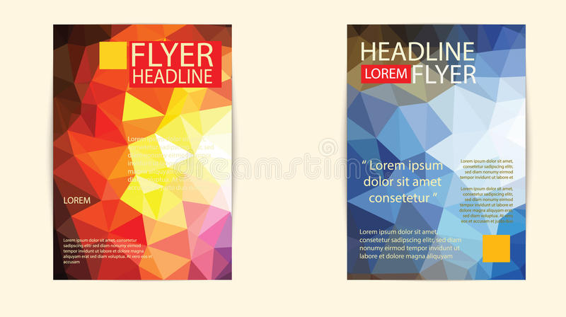 Nowożytny broszurki pokrywy i letterhead szablonu wieloboka niski geomet royalty ilustracja