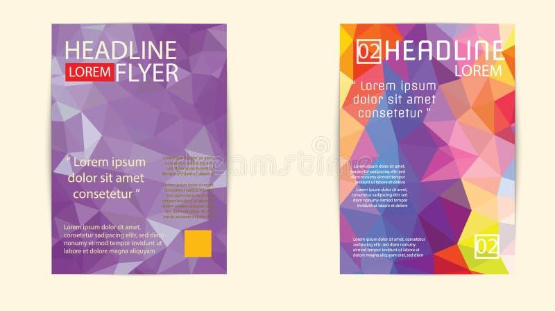 Nowożytny broszurki pokrywy i letterhead szablonu wieloboka niski geomet ilustracja wektor
