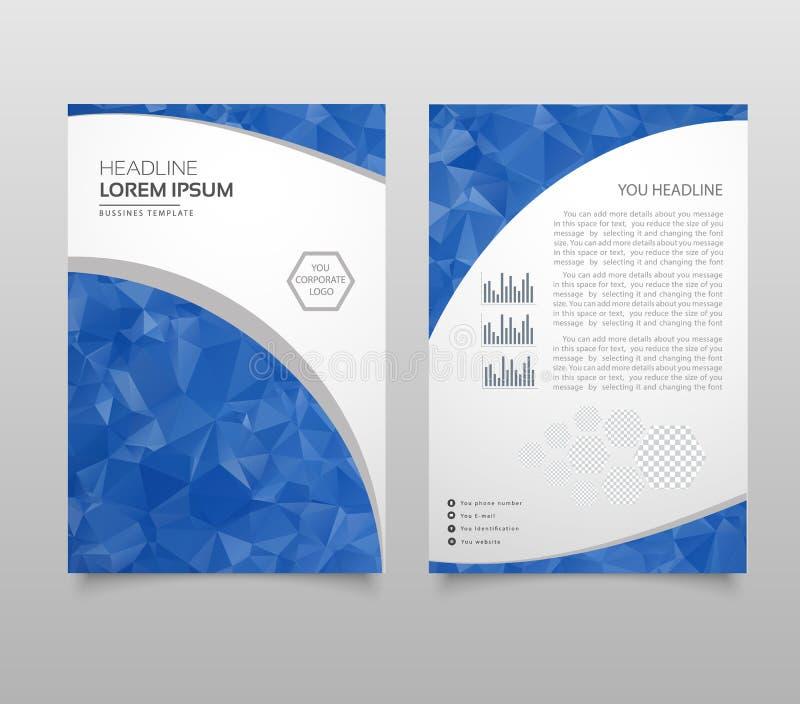 Nowożytny broszurki układu, ulotki i pokrywy projekta szablon z poligonalnym papierem, hebluje grafika Nowożytny trójbok prezenta royalty ilustracja