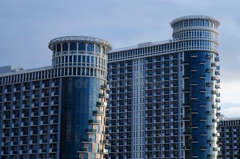 Nowożytny budynków mieszkań morze Góruje przy Czarnym morzem, hotelowy kompleks, Batumi, Gruzja zdjęcia royalty free