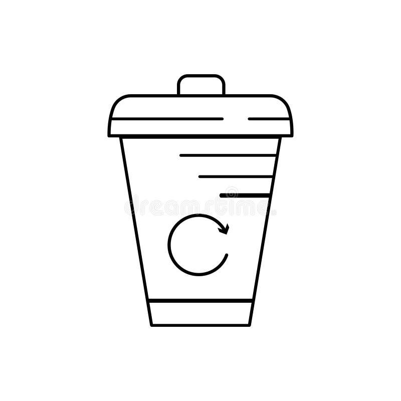 Nowożytny cienieje kreskową ikonę kubeł na śmieci Premii ilości konturu symbol Prosty mono liniowy piktogram, rysunek, sztuka, zn ilustracja wektor
