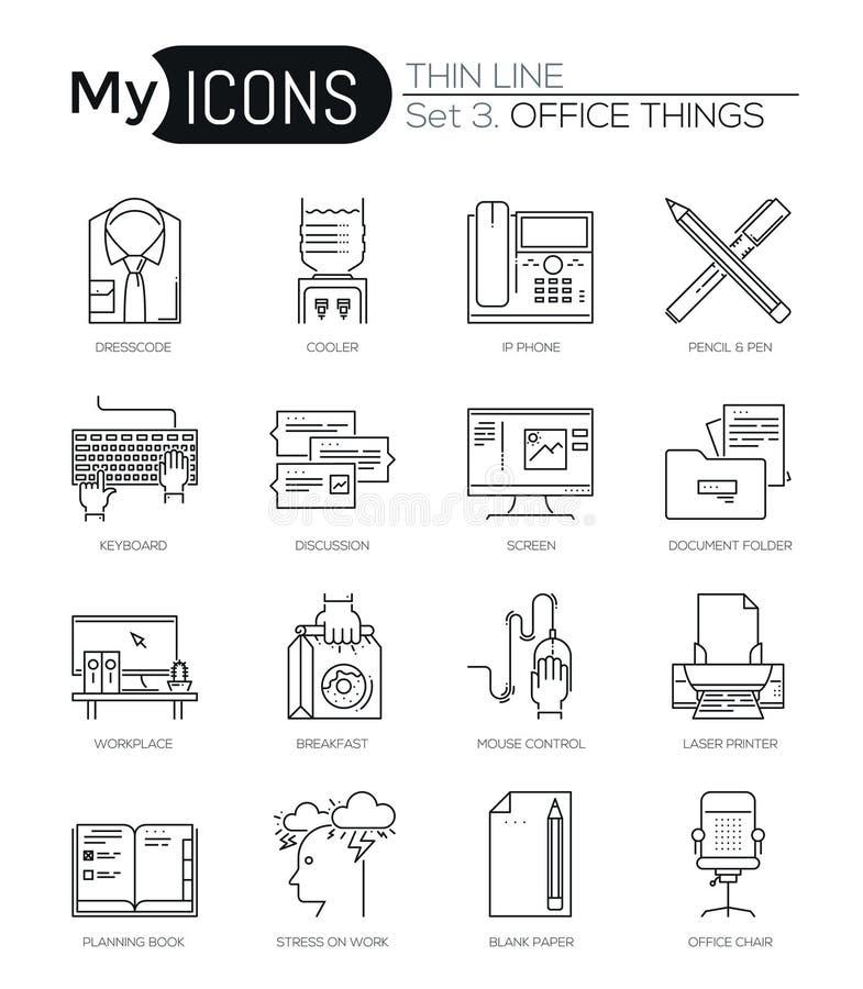 Nowożytny cienieje kreskowe ikony ustawiać podstawowego biznesu istotni narzędzia, biurowy wyposażenie ilustracja wektor