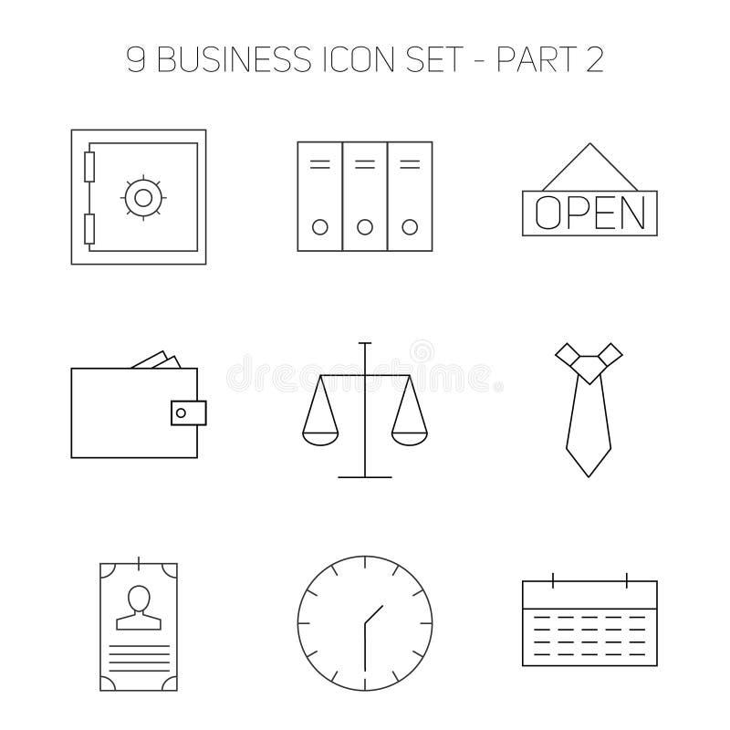 Nowożytny cienieje kreskowe ikony ustawiać robić biznesowi royalty ilustracja