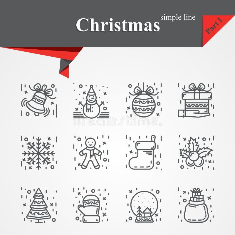 Nowożytny cienkie kreskowe ikony ustawiać dla wakacje royalty ilustracja