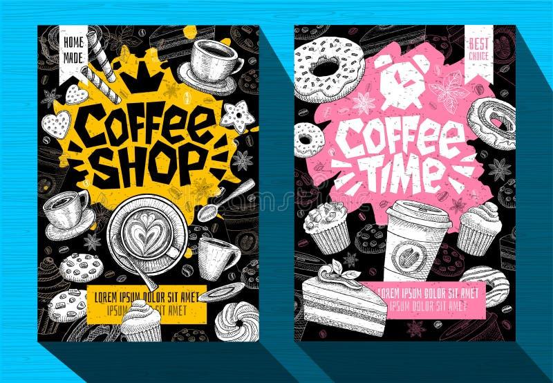Nowożytny cukierniany karmowy plakatowy menu szablon Loga emblemata znaka literowanie Kawowy czasu sklep z kawą Kawowego kubka fa ilustracja wektor