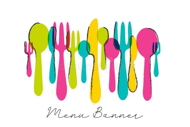 Nowożytny cutlery menu sztandaru projekt z kolorowym nożem, łyżką i rozwidleniem, Karmowy symbol ilustracja wektor