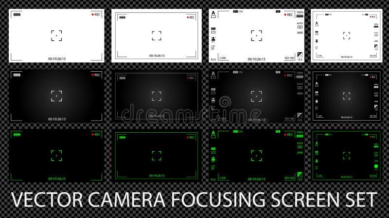Nowożytny cyfrowy kamera wideo ogniskowania ekran z położeniami 12 w 1 paczce ilustracja wektor