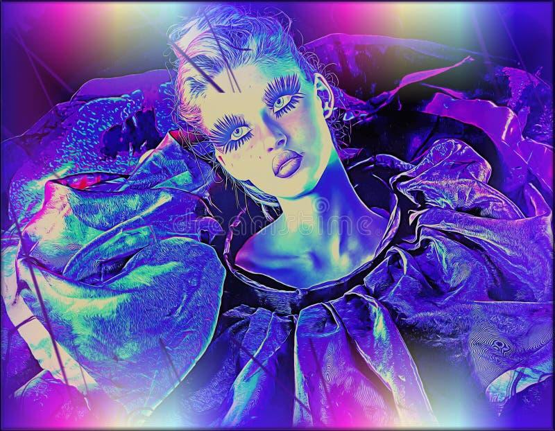 Nowożytny cyfrowy sztuka wizerunek kobiety twarz, zamyka up z kolorowym abstrakcjonistycznym tłem royalty ilustracja