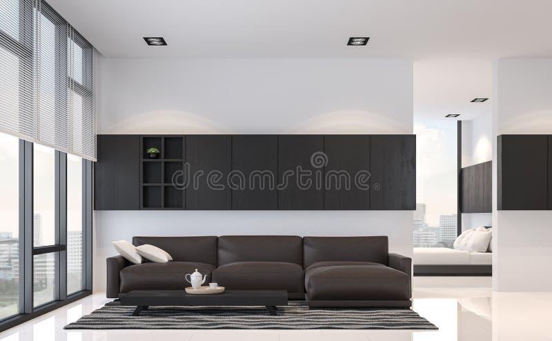 Nowożytny czarny i biały żywy pokoju i sypialni 3d renderingu wewnętrzny wizerunek ilustracji