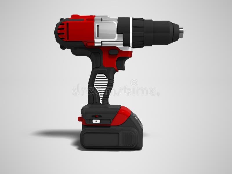 Nowożytny czerwony cordless świder z do naładowania baterii bocznym widokiem 3d ilustracja wektor