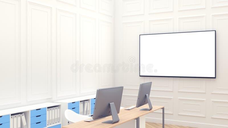 Nowożytny czysty workspace mockup z pustym dużym ekranem na whall Nowo?ytny bia?y biuro pracy dwa Drewniani countertops wystrój n royalty ilustracja