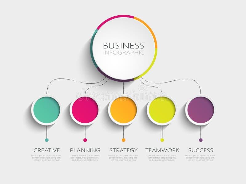 Nowożytny 3D infographic szablon z 5 krokami dla sukcesu Biznesowego okręgu szablon z opcjami dla broszurki, diagram, obieg ilustracji