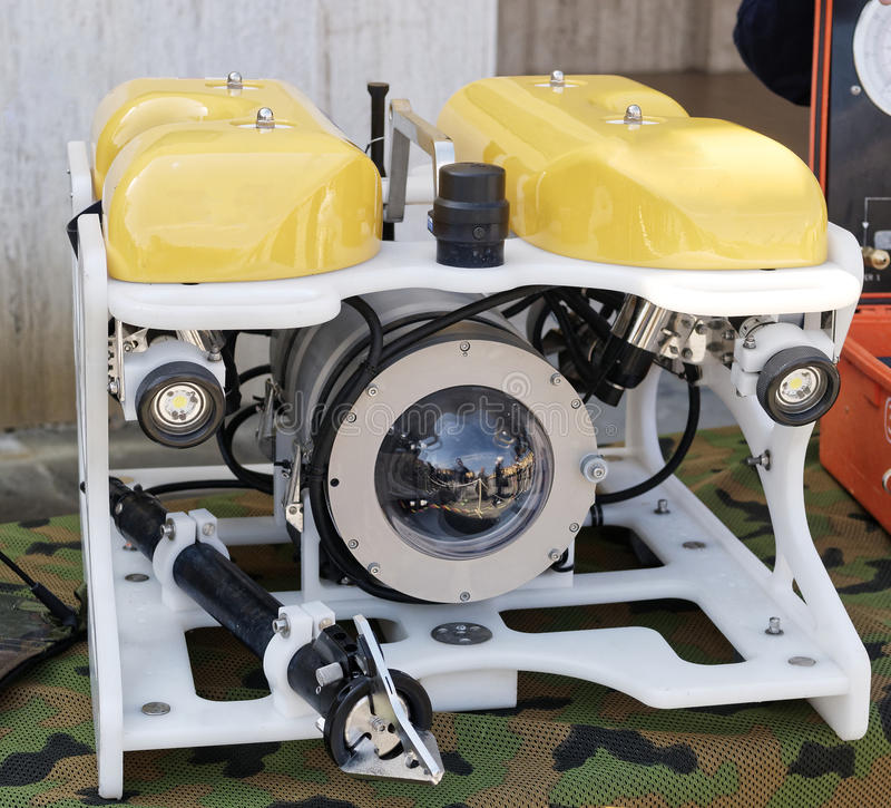 Nowożytny daleko działający podwodny pojazd, ROV zdjęcie stock