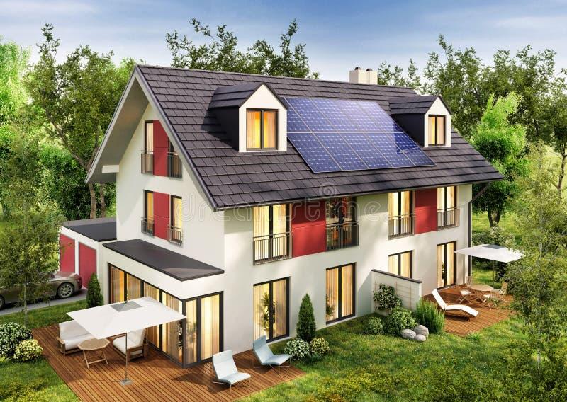 Nowożytny dom miejski z panel słoneczny na dachu fotografia stock