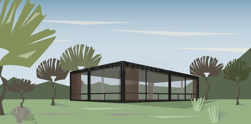 Nowożytny dom w naturze, wektor ilustracji