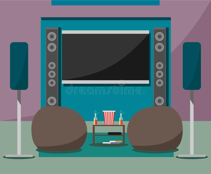 Nowożytny domowy kino z krzesłami, napojami i popkornem w stylu mieszkania miękkiej części, ilustracja wektor