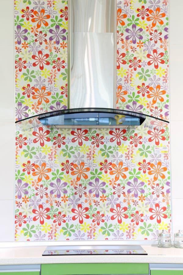Nowożytny domowy kuchenka kapiszon z elektryczną kuchenki i kwiatu tapetą obrazy royalty free
