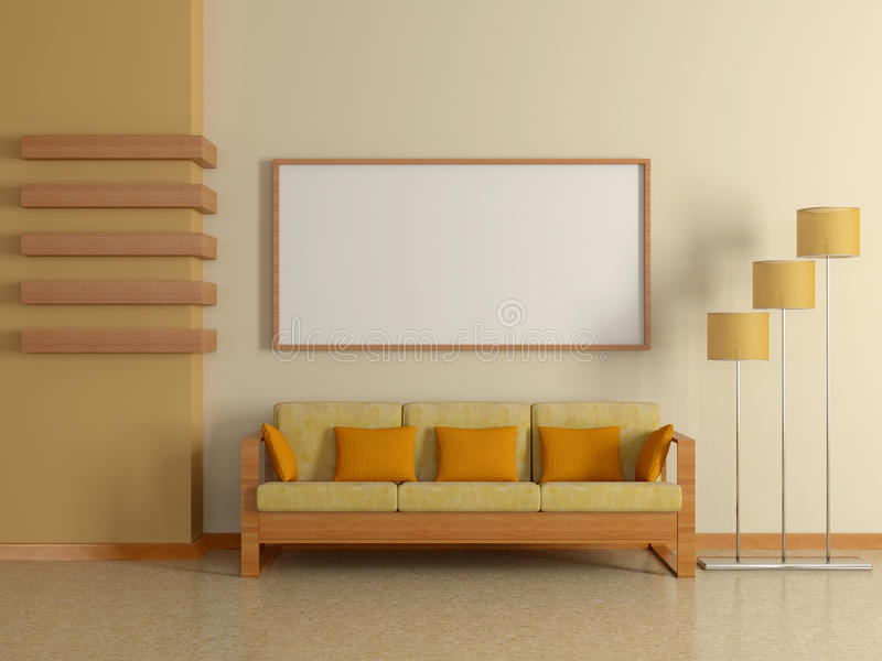 Nowożytny domowy wnętrze z kanapą, maluje. 3D. ilustracja wektor