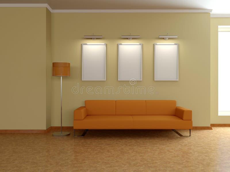 Nowożytny domowy wnętrze z kanapą, obrazy. 3D. ilustracja wektor