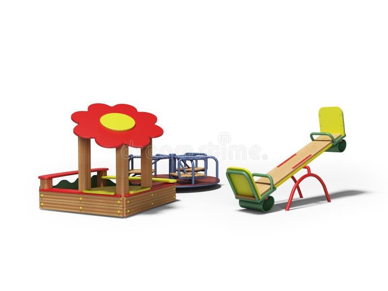 Nowożytny drewniany boisko dla dzieci z piaskownicą i dwa huśtawki 3d odpłacamy się na białym tle z cieniem ilustracja wektor