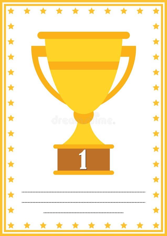 Nowożytny dyplom z trofeum świadectwem z miejscem dla twój zawartości dla dzieciaków, najpierw umieszcza ilustracja wektor