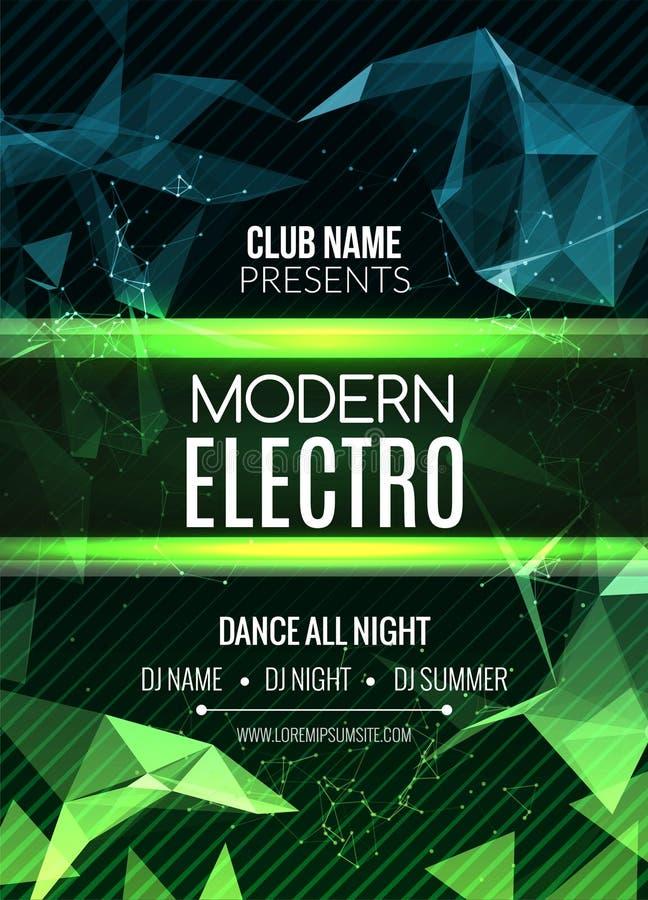 Nowożytny Electro muzyki przyjęcia szablon, Prywatka ulotka, broszurka Nocy przyjęcia klubu sztandaru plakat ilustracji