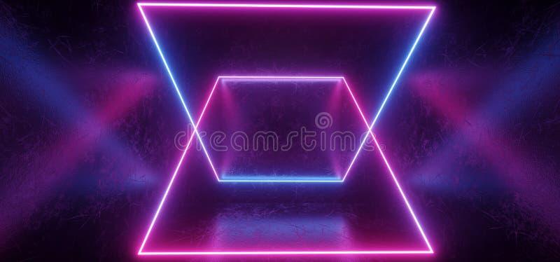 Nowożytny Elegancki Futurystyczny zmrok Drapający Sci FI metalu betonu Grunge pokój Z odbicie Realistycznej tekstury Neonowy Jarz royalty ilustracja