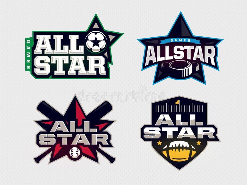 Nowożytny fachowy emblemat wszystkie gwiazdy kolekcja dla sportów ilustracja wektor
