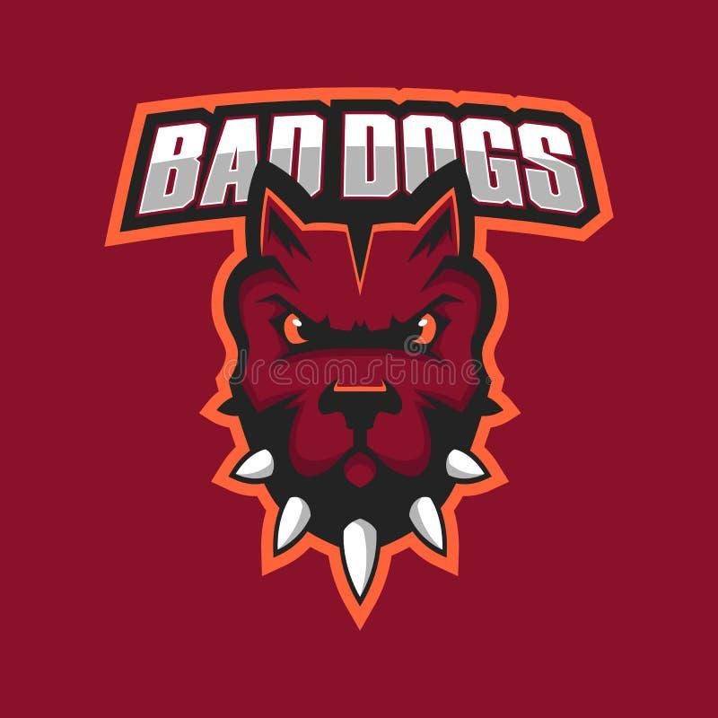 Nowożytny fachowy logo dla sport drużyny Pitbull maskotka Pitbulls, wektorowy symbol na ciemnym tle ilustracja wektor
