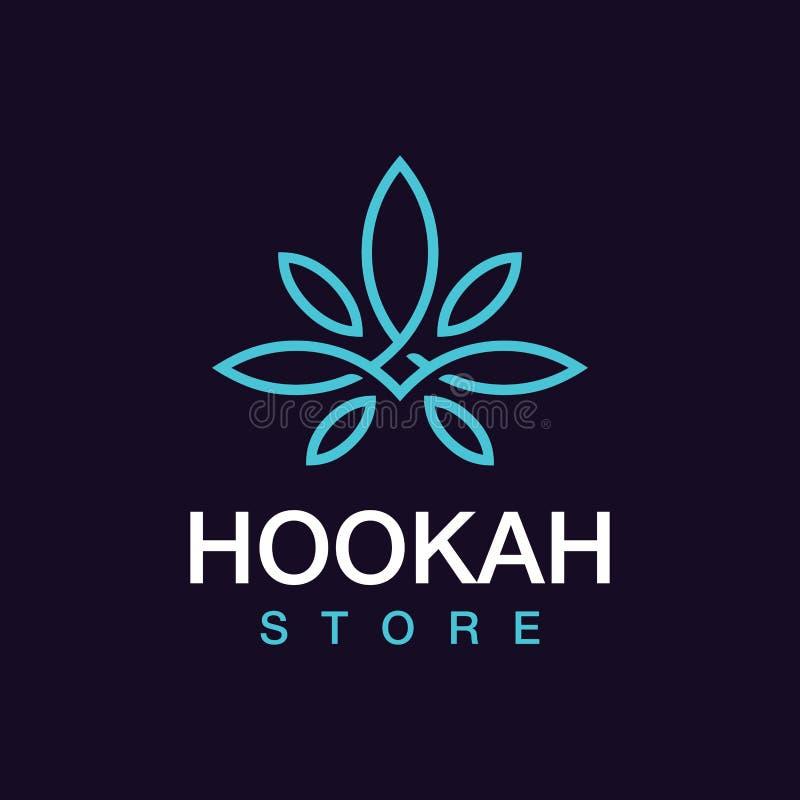 Nowożytny fachowy logo nargile sklep w czarnym i błękitnym temacie ilustracji