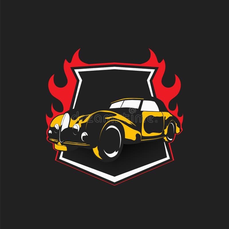 Nowożytny fachowy Retro samochodowy logo projekta szablon dla sport drużyny - wektor royalty ilustracja