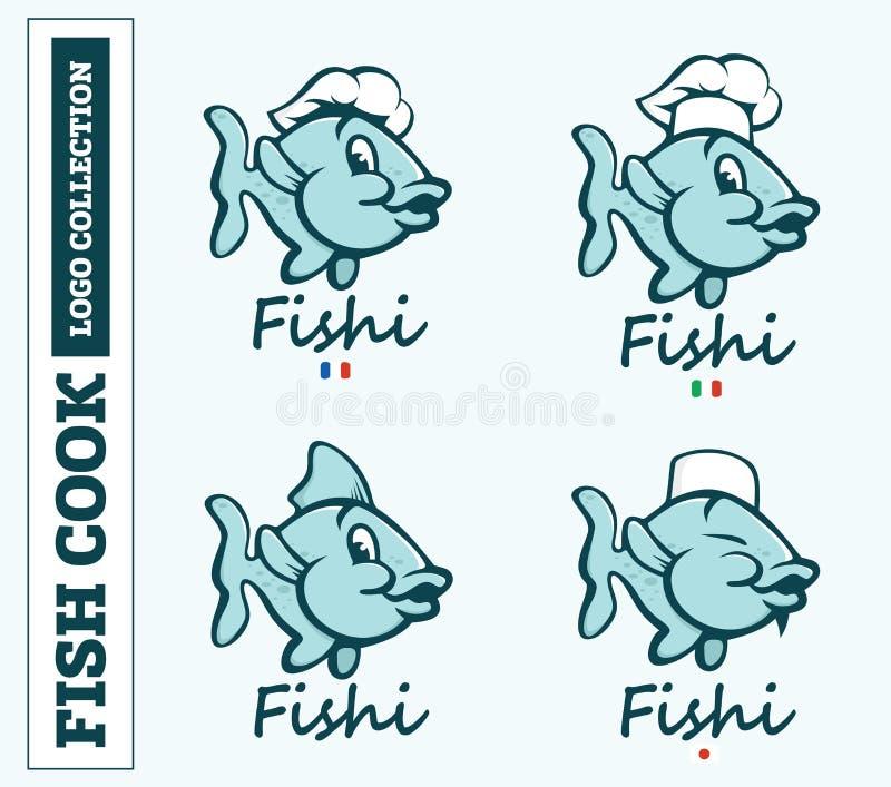 Nowożytny fachowy ustalony loga emblemata ryba kucharz dla różnych krajów royalty ilustracja
