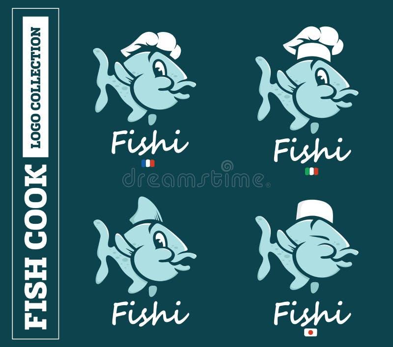 Nowożytny fachowy ustalony loga emblemata ryba kucharz dla różnych krajów w błękitnym temacie ilustracji
