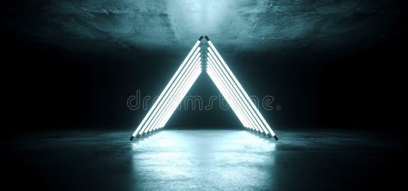 Nowożytny Futurystyczny Neonowy Rozjarzony trójbok Kształtujący Biały Lodowego błękita dyskoteki tubki Pozafioletowy światło Ruru royalty ilustracja