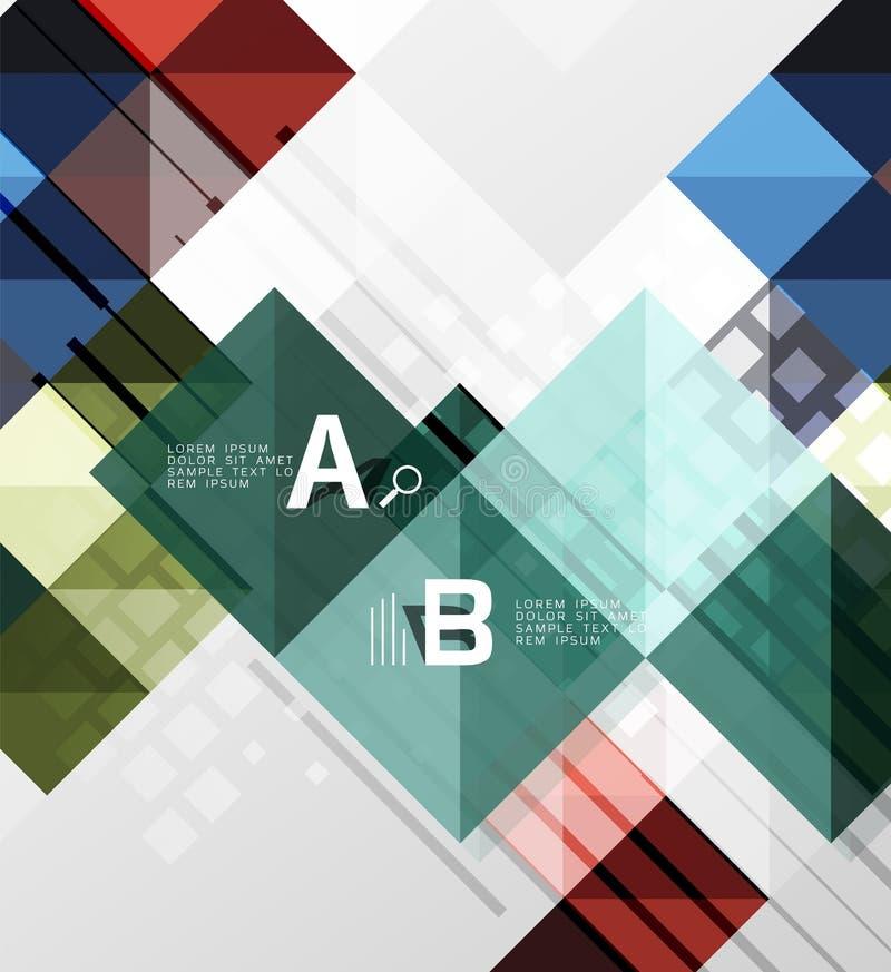Nowożytny geometrical abstrakcjonistyczny tło, kwadraty ilustracji