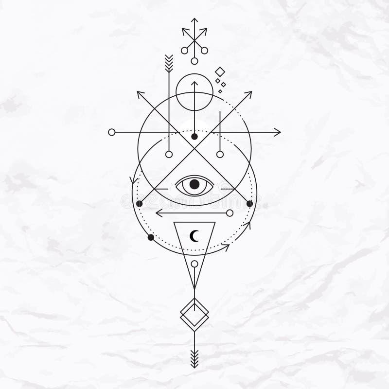 Nowożytny geometryczny alchemia symbol ilustracji