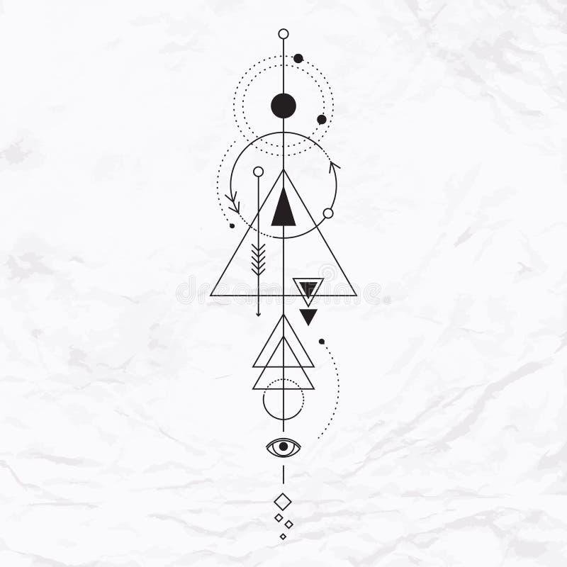Nowożytny geometryczny alchemia symbol ilustracja wektor
